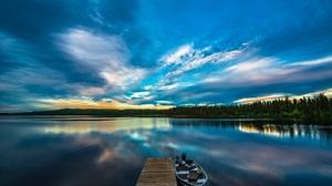 Nature Lake Dock Boat Clouds Sky 1920x1277 Wallpaper