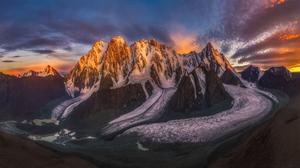 Mr Wang Landscape Mountains Cliff Snow Nature Sky Sunlight Horizon 2048x1152 Wallpaper