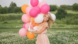Woman Girl Pink Dress Blonde Smile Blue Eyes Depth Of Field Balloon 2048x1463 Wallpaper