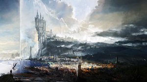 Video Games Video Game Art Digital Art Castle Wyvern City Sea Clouds Tower Final Fantasy XVi Concept 10630x5714 Wallpaper