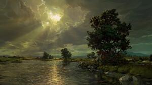 Philipp A Ulrich Digital Art Landscape Clouds Trees Lake 3840x2160 Wallpaper