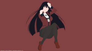 Black Hair Girl Kakegurui Long Hair Minimalist Pantyhose Skirt Yumeko Jabami 1920x1080 Wallpaper