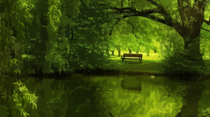 Artistic Bench Green Reflection Tree 1991x1650 Wallpaper