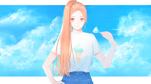 Girl Original Anime Long Hair Ponytail Orange Hair Orange Eyes Smile 4000x2600 Wallpaper