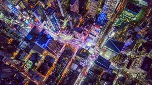 Aerial Cityscape Night 1920x1200 Wallpaper