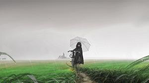 Anime Girls Original Characters Umbrella Rain Field Bicycle Cats Grass 4000x1660 Wallpaper