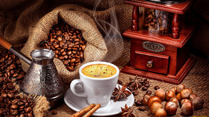 Food Coffee Cup Coffee Beans 1920x1080 Wallpaper