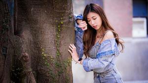 Asian Model Women Long Hair Brunette Leaning Trees Jeans Jacket Jeans Wristwatch Depth Of Field Shor 3840x2559 wallpaper