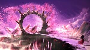 Fantasy Girl Landscape Pink Tree 1920x1080 Wallpaper
