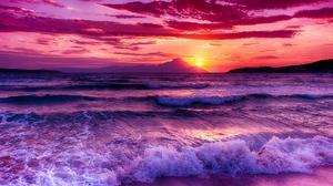 Earth Ocean Sea Sky Sunset Wave 2046x1095 Wallpaper