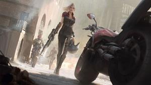 Woman Warrior Girl Weapon Motorcycle Blonde 2048x1169 Wallpaper