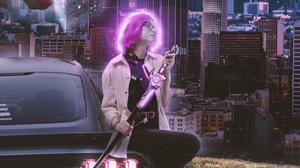 Cyberpunk Building Landscape Car Women Futuristic 3050x5062 Wallpaper