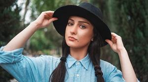 Black Hair Girl Hat Model Woman 2048x1152 Wallpaper