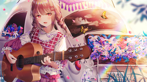 Braid Brown Hair Butterfly Dress Flower Red Eyes Twintails Vehicle 4000x2673 Wallpaper