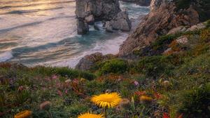 Bruno Soares Landscape Rocks Sky Clouds Water Waves Shore Cliff Flowers Grass Nature 1639x2048 wallpaper