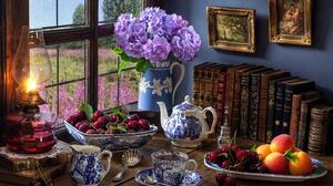 Fruit Book Bowl Tea Hydrangea Pitcher Lamp 2560x1600 Wallpaper