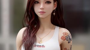 Shin JeongHo CGi Women Redhead Tank Top White Clothing Necklace Long Hair Looking Away Tattoo Depth  1280x1280 Wallpaper