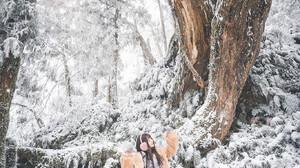Asian Women Model Outdoors Women Outdoors Trees Asia Plants Cold Winter Snow Standing 1365x2048 wallpaper