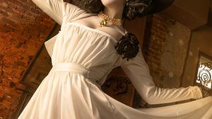 Dress Video Game Girls Hat Yellow Eyes Portrait Display Black Hat Photography Model Short Hair White 1000x1500 wallpaper