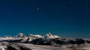 Landscape Stars Snow Mountains Starry Night Nature 3840x2160 Wallpaper