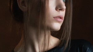 Alexey Kishechkin Women Ksenia Kokoreva Brunette Portrait Black Clothing Makeup Looking Away Simple  1440x2160 Wallpaper