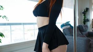 Women Model Redhead Black Tops Looking At Viewer Choker Rabbits Poles Indoors Women Indoors 1529x1920 wallpaper