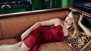Blonde Actress Lipstick Red Dress Lying Down 2400x1600 wallpaper