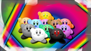 Checkered Colorful Colors Game Kirby Rainbow 1600x900 wallpaper
