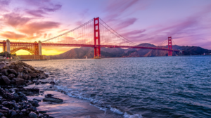 Nature Landscape Bridge Clouds Sky Sunset Water River Rocks Mountains Golden Gate Bridge San Francis 1920x1080 Wallpaper