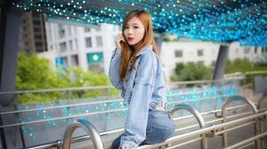 Asian Model Women Long Hair Brunette Jeans Jacket Jeans Sitting Railings Bushes LEDs Depth Of Field  2304x1536 Wallpaper