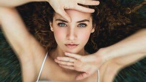 Sofie Dossi Women Blue Eyes Curly Hair 1200x1799 Wallpaper