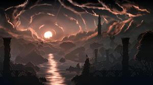 Silhouette Minimalism Fredrik Persson Sunrise River Ruins Clouds 1920x1080 Wallpaper