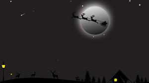 Sleigh Moon Santa Night Reindeer 4939x3499 Wallpaper