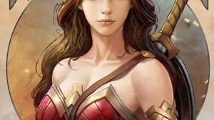 Kim Sung Hwan Drawing Wonder Woman Brunette Warrior Tiaras Weapon Sword Shield DC Comics 2334x3000 Wallpaper