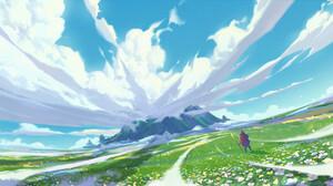 YH Wu Digital Art Fantasy Art Clouds Flowers Field Landscape Staff Mountains 1920x960 Wallpaper