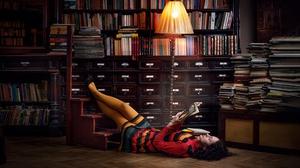 Woman Model Girl Brunette Lying Down Library 2048x1152 Wallpaper