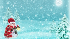 Christmas Lantern Moon Snowfall Snowman Winter 3508x2480 Wallpaper