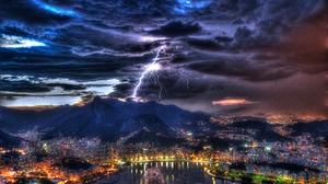 Rio De Janeiro Brazil Lightning Cloud Storm Mountain Bay 4256x2832 Wallpaper