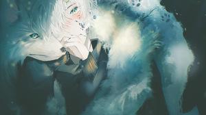 Boy Green Eyes White Hair Wolf 2048x1537 Wallpaper