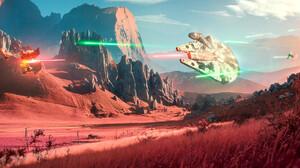 Millenium Falcon Star Wars Artwork Landscape Fictional Ultrawide 2500x1019 wallpaper