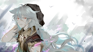 Razor Genshin Impact Grey Hair Red Eyes 4356x2400 Wallpaper