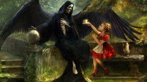 Child Dark Death Fantasy Girl Grim Reaper Little Girl Skeleton 2064x1354 Wallpaper
