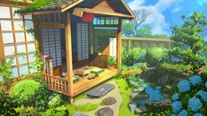 Landscape Digital Art Artwork Chinese Architecture House Plants Sky 4921x2956 Wallpaper