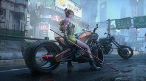 Artwork Women Science Fiction Motorcycle Cyberpunk 3840x2160 wallpaper