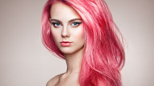 Oleg Gekman Women Anna Nosova Pink Hair Long Hair Makeup Looking At Viewer Simple Background Portrai 2048x1536 Wallpaper