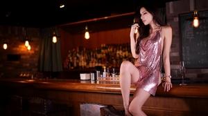 Asian Women Model Brunette Profile Parted Lips Hoop Earrings Dress Sitting Bar Light Bulb Depth Of F 2560x1707 Wallpaper
