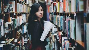 Asian Black Hair Book Girl Library Model Woman 6122x4084 Wallpaper