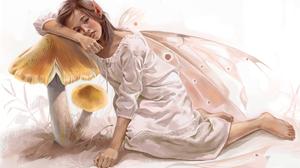Fairy Fantasy Girl Mushroom Sad Wings 1920x1177 Wallpaper