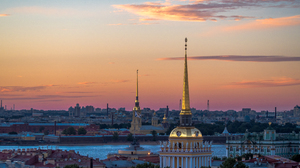 Architecture River Russia Saint Petersburg Sky Sunset 4595x2585 Wallpaper