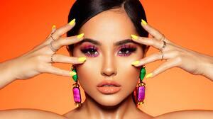 Orange Background Becky G Makeup Women Brunette 3800x1600 Wallpaper